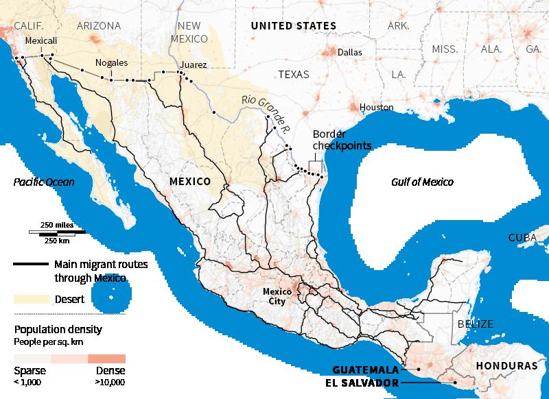 US Border Crisis - Us map of southwestern border