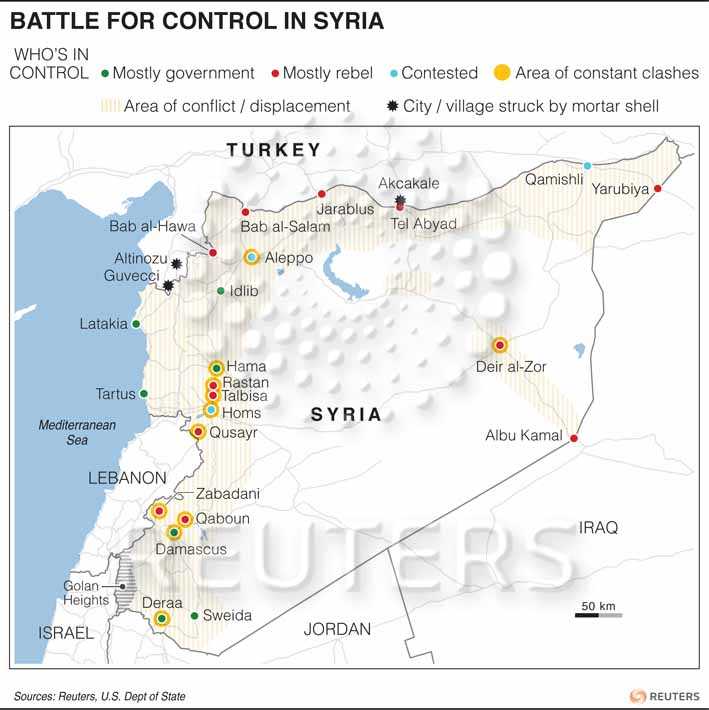 A map of the Syrian Conflict